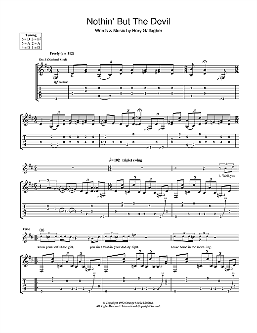 Tablature guitare Nothing But The Devil de Rory Gallagher - Tablature Guitare