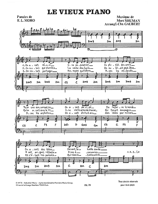 Le Vieux Piano Sheet Music