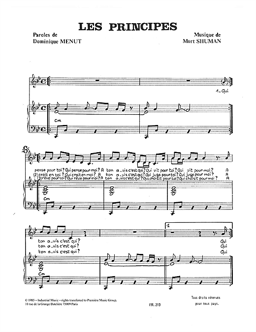 Les Principes Sheet Music