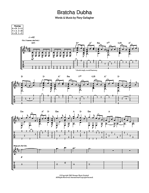 Tablature guitare Bratcha Dubha de Rory Gallagher - Tablature Guitare