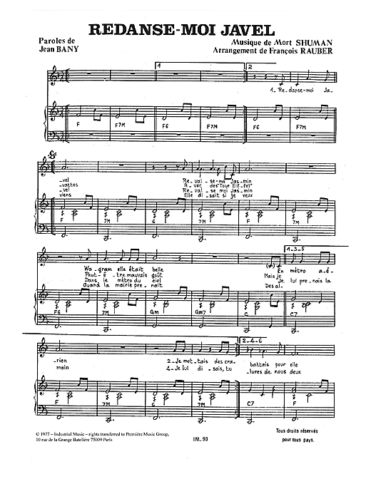 Redanse-Moi Javel Sheet Music