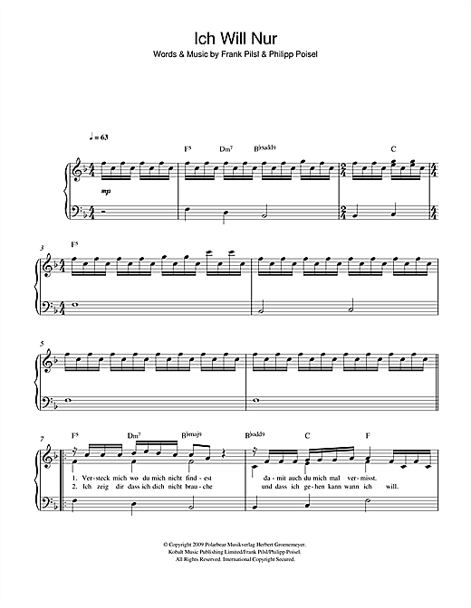 ich will nur sheet music by philipp poisel easy piano 116682. Black Bedroom Furniture Sets. Home Design Ideas