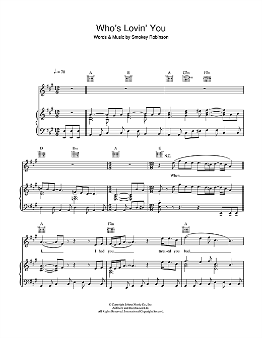 Who's Lovin' You Sheet Music