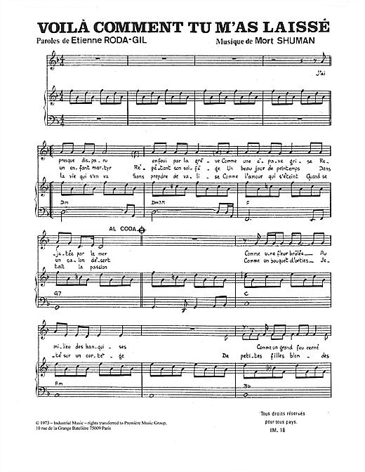 Voilà Comment Tu M'as Laissé Sheet Music