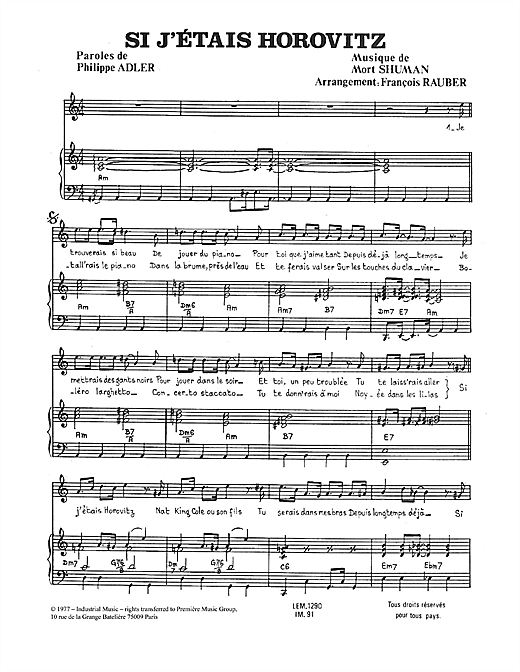 Si J'étais Horovitz Sheet Music