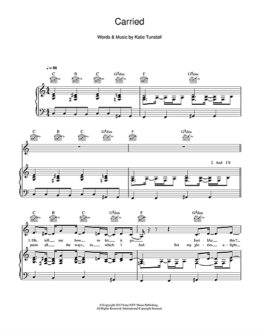 Carried (Piano, Vocal & Guitar (Right-Hand Melody))