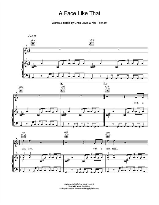 A Face Like That Sheet Music