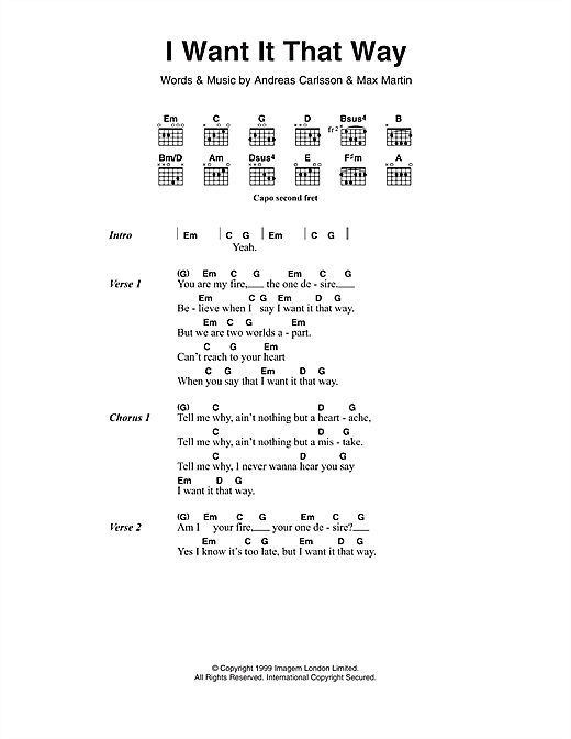 I Want It That Way (Guitar Chords/Lyrics)