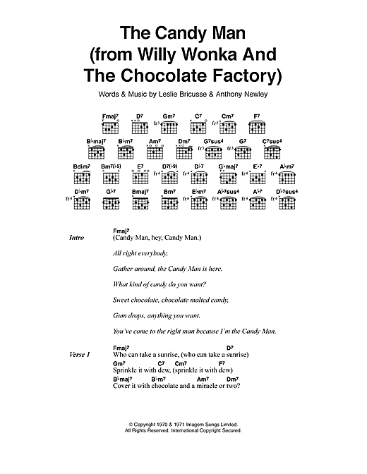 The Candy Man (from Willy Wonka And The Chocolate Factory) (Guitar Chords/Lyrics)
