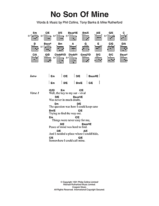 No Son Of Mine (Guitar Chords/Lyrics)
