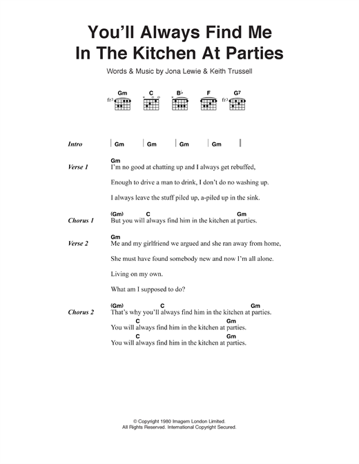 You'll Always Find Me In The Kitchen At Parties Sheet Music