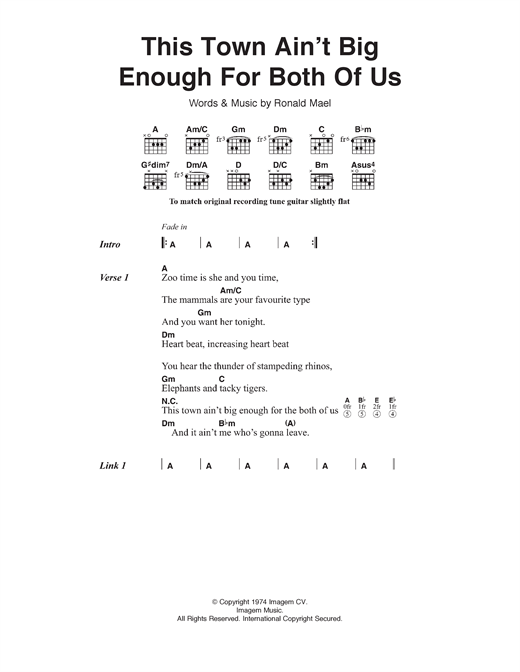 This Town Ain't Big Enough For Both Of Us Sheet Music