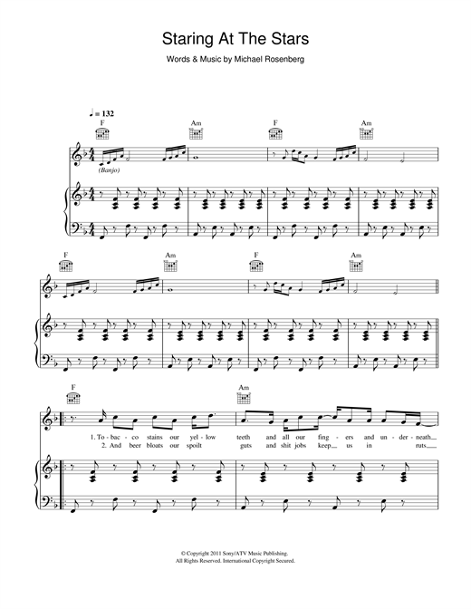Staring At The Stars piano sheet music by Passenger - Piano Voice ...
