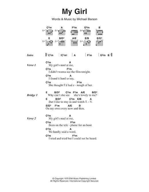 My Girl sheet music by Madness (Lyrics & Chords – 116792)