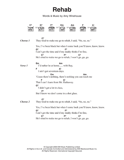 Rehab sheet music by Amy Winehouse (Lyrics & Chords – 116794)
