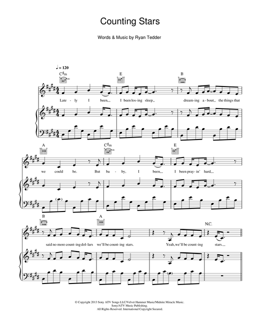 Counting Stars sheet music by OneRepublic (Piano, Vocal & Guitar ...