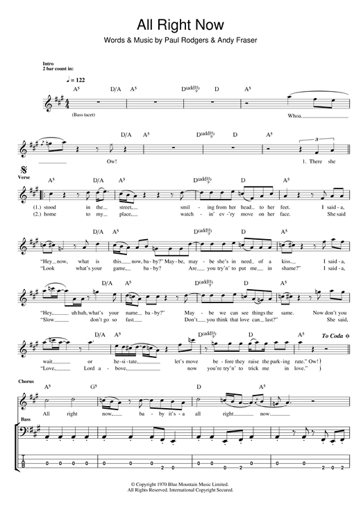 Tablature guitare All Right Now de Free - Tablature Basse