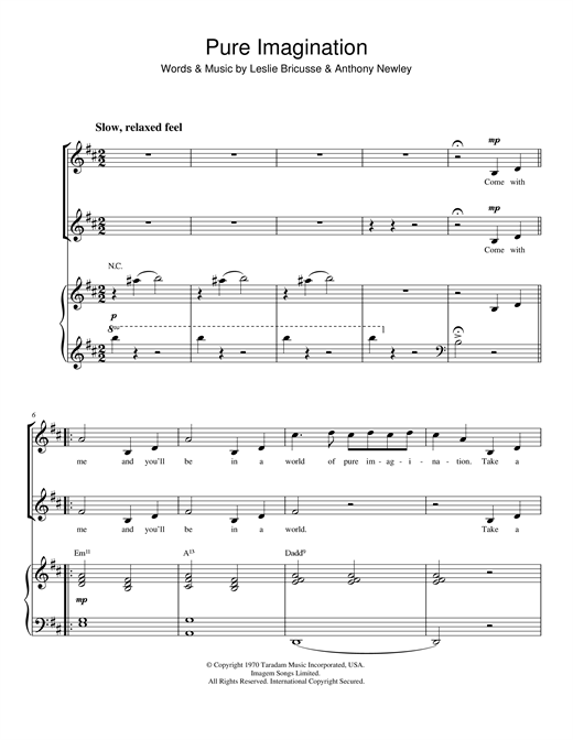 Pure Imagination (from Willy Wonka & The Chocolate Factory) Sheet Music