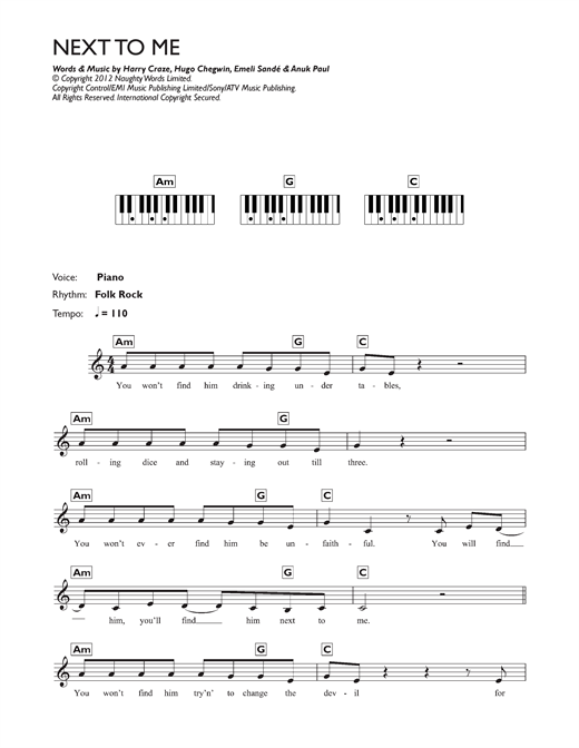 Next To Me (Next To You) Sheet Music