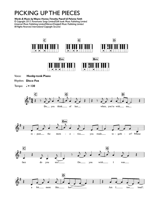 Picking Up The Pieces Sheet Music