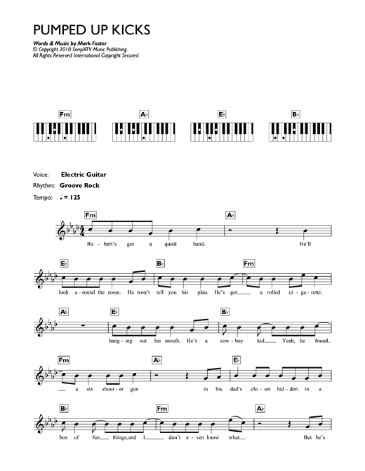Pumped Up Kicks Sheet Music