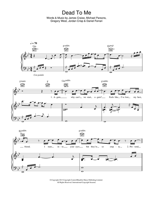 Dead To Me Sheet Music
