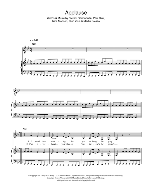Applause Sheet Music