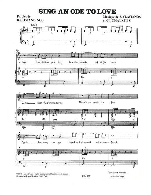 Partition piano Sing An Ode To Love de Stylianos Vlavianos - Piano Voix