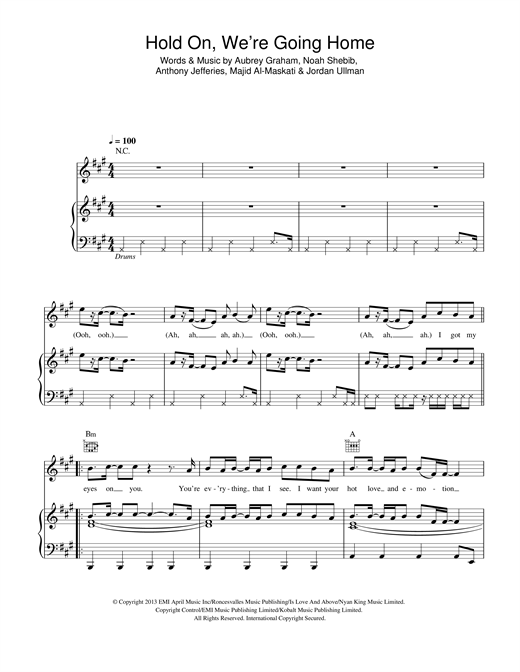 Hold On We're Going Home Sheet Music