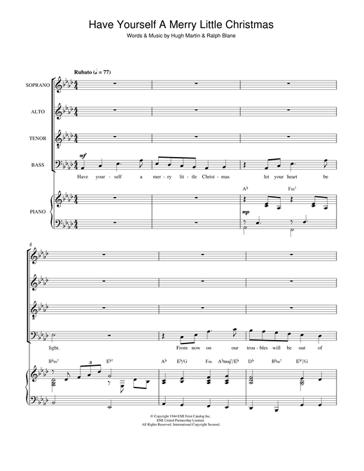 Partition chorale Have Yourself A Merry Little Christmas de Traditional - SATB