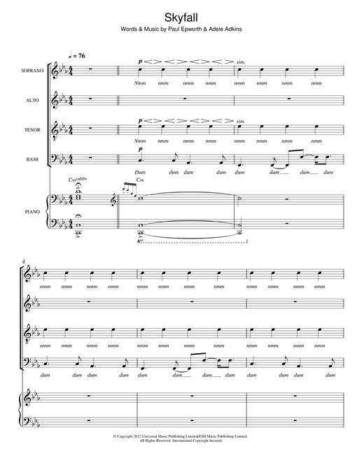 Skyfall (arr. Thomas Lydon) Sheet Music