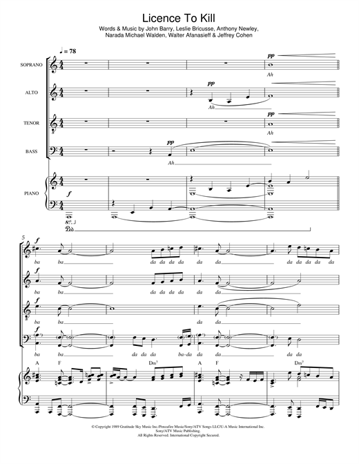 Partition chorale License To Kill (from 'License To Kill') de Gladys Knight - SATB