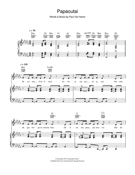 Papaoutai sheet music by Stromae (Piano, Vocal & Guitar ... Mariah Carey Chords