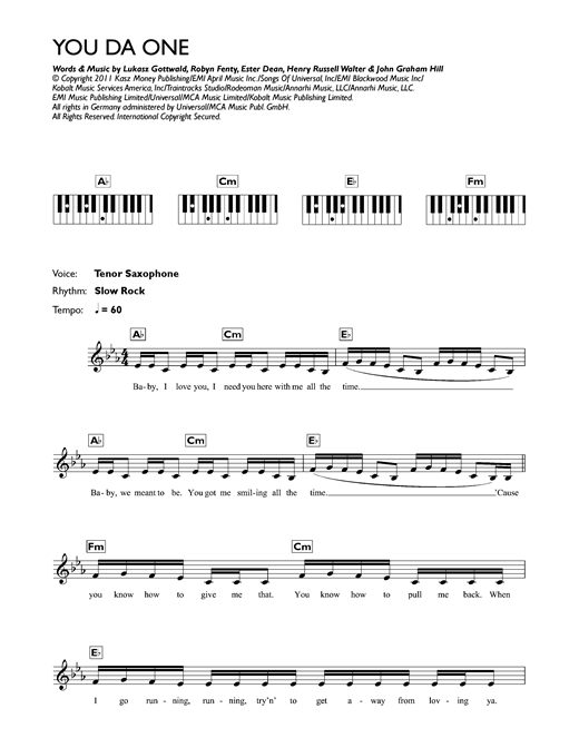 You Da One Sheet Music