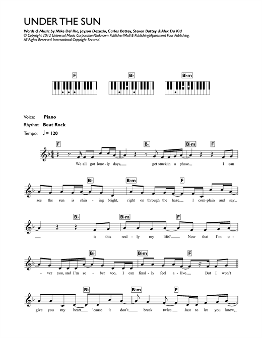 Under The Sun Sheet Music