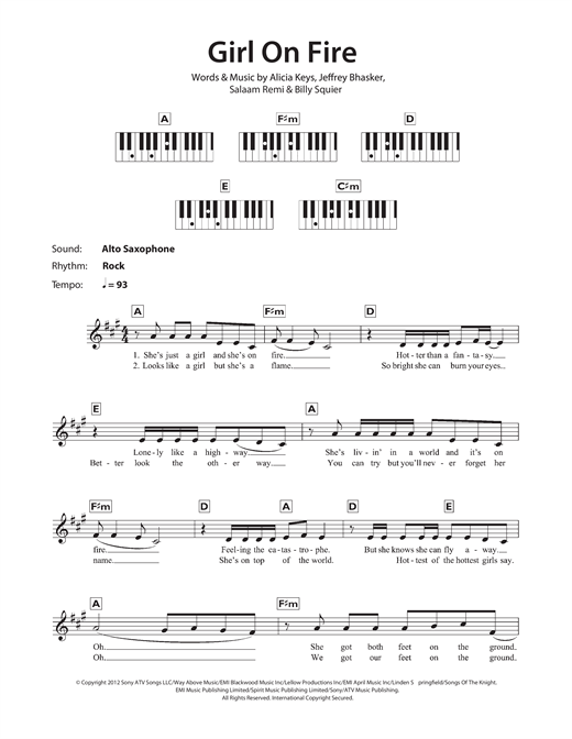 Girl On Fire Sheet Music By Alicia Keys Keyboard 116937