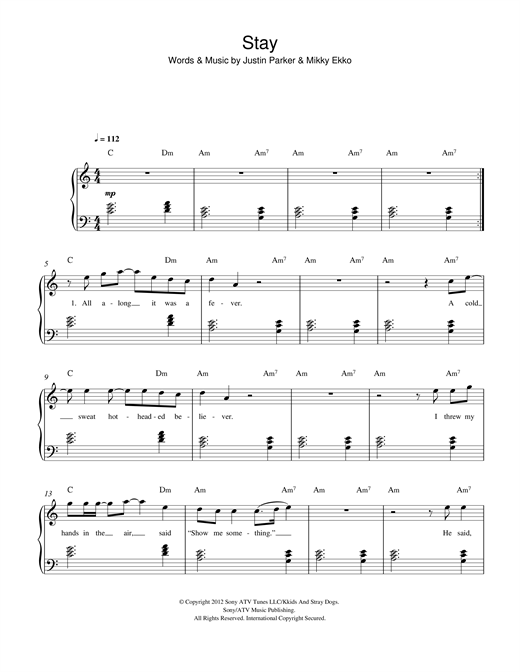 Piano piano tabs great balls of fire : Stay sheet music by Rihanna (Easy Piano – 116963)