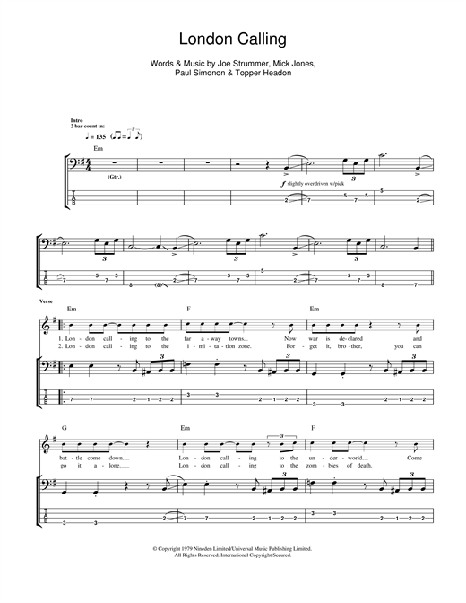 London Calling Sheet Music