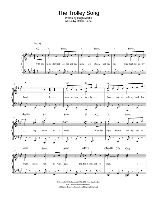The Trolley Song (from 'Meet Me In St. Louis') Sheet Music