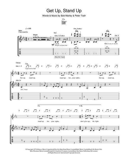 Get Up, Stand Up Guitar Tab by Bob Marley (Guitar Tab u2013 116996)