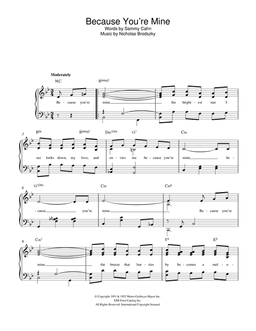 Partition piano Because You're Mine de Sammy Cahn - Piano Facile
