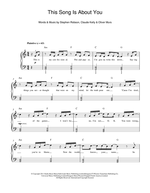 This Song Is About You Sheet Music