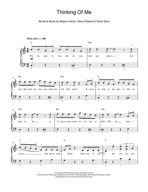 Partition piano Thinking Of Me de Olly Murs - Piano Facile