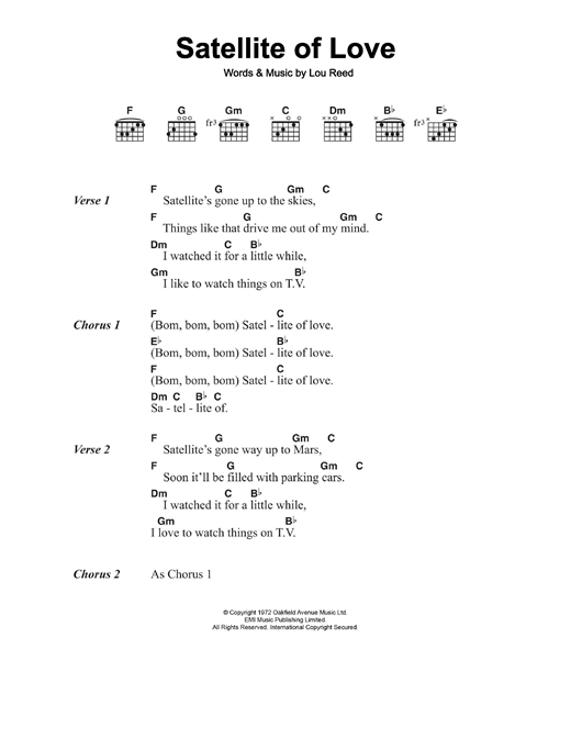 Satellite Of Love Sheet Music