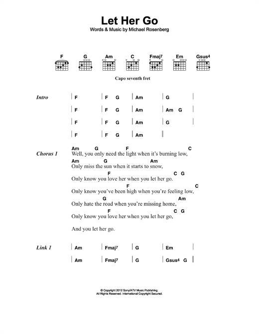Let Her Go sheet music by Passenger (Lyrics & Chords – 117010)