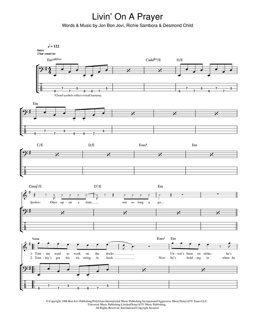 Tablature guitare Livin' On A Prayer de Bon Jovi - Tablature Basse