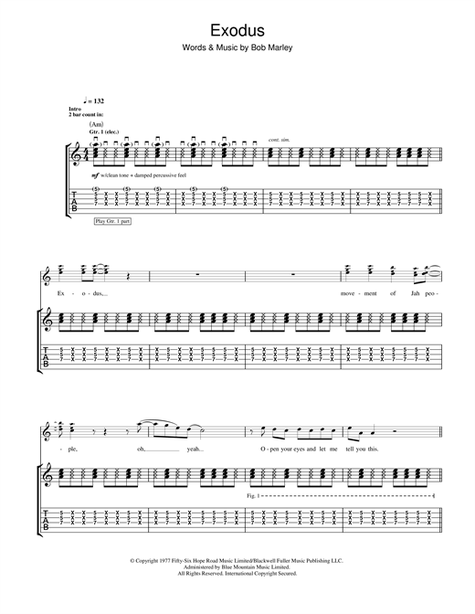 Tablature guitare Exodus de Bob Marley - Tablature Guitare
