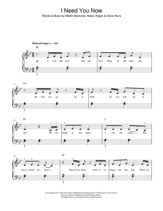 I Need You Now Sheet Music