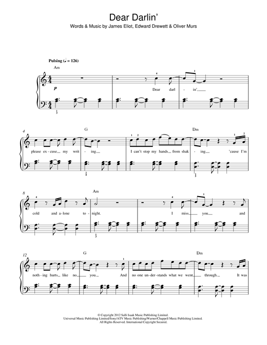 Partition piano Dear Darlin' de Olly Murs - Piano Facile