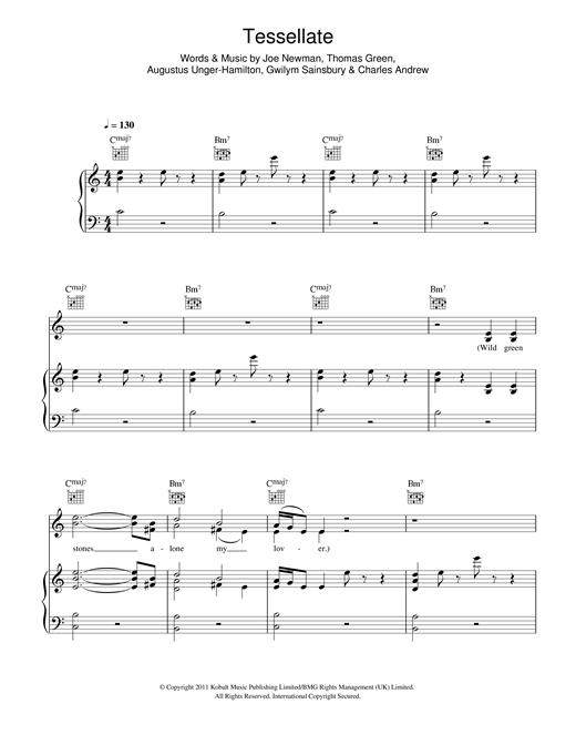 Tessellate (Piano, Vocal & Guitar (Right-Hand Melody))